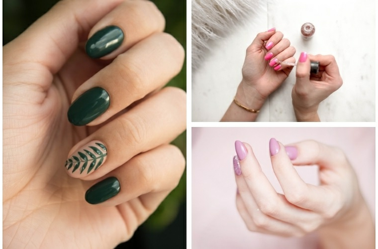 Colate estive, manicure forma a mandorla, smalto di colore rosa, collage di foto