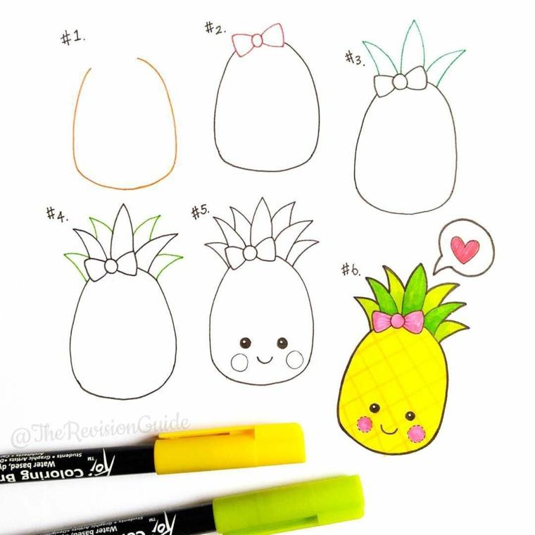 Come disegnare un ananas, tutorial passaggi disegno ananas, disegno da colorare con pennarelli