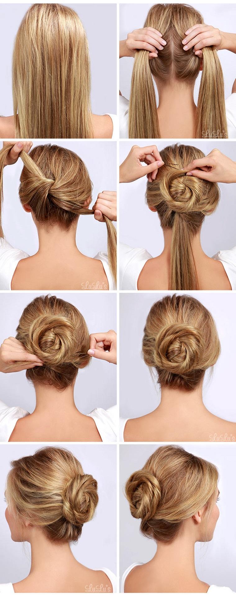 Pettinature capelli raccolti, tutorial per capelli lunghi, chignon mosso a nodo