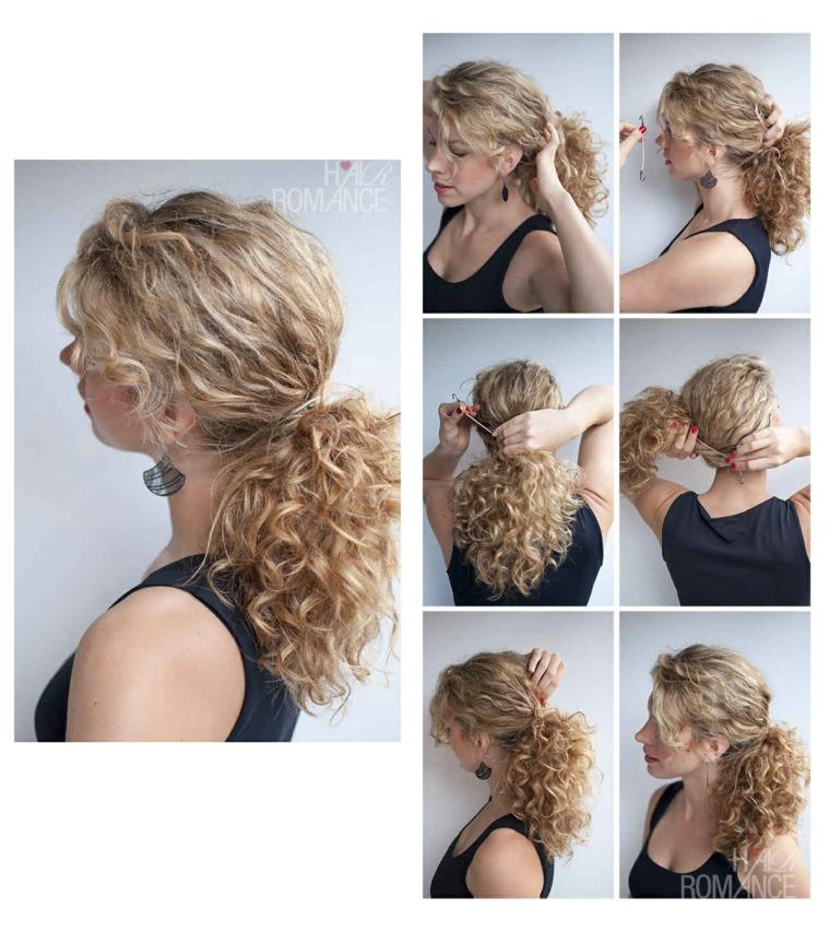 Capelli lunghi e biondi, donna con capelli ricci, acconciature facili da fare da soli, coda con elastico