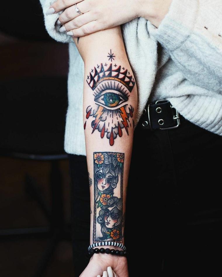 Avambraccio donna tatuato, tatuaggi old school, disegno tattoo occhio con stelle