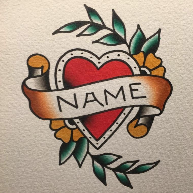 Tatuaggio cuore significato, disegno di un cuore rosso, nastro per il nome