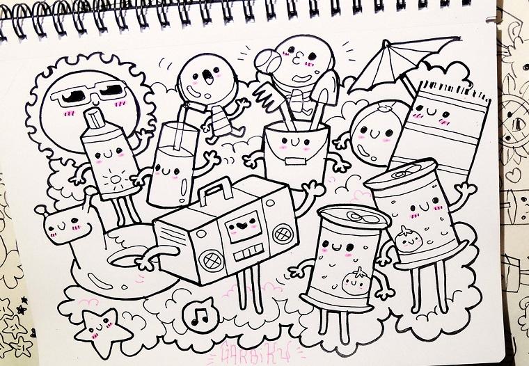 Schizzi da colorare per bambini, disegni facili da copiare, quaderno ad anelli per disegni