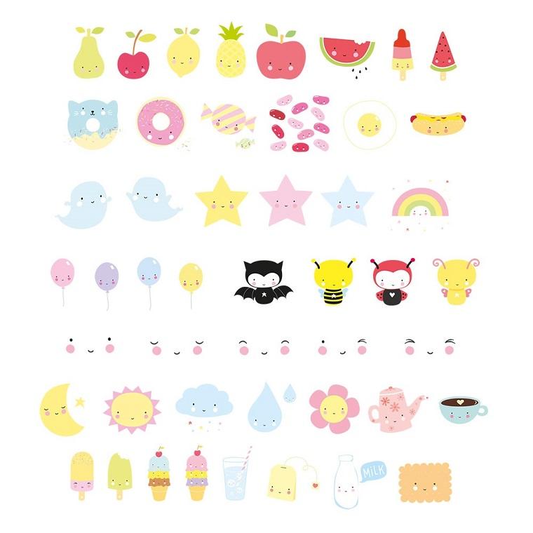 Disegni facili ma belli, disegno di frutta kawaii, schizzi colorati di animaletti