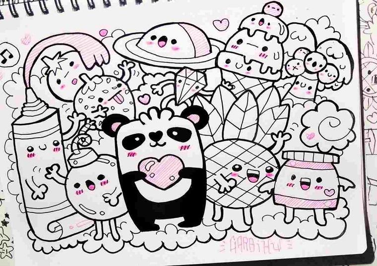 Disegni facili da disegnare, disegni di cibo da colorare, panda kawaii con cuore