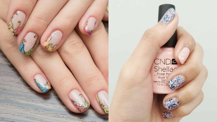 Disegni sulle unghie, smalto di colore rosa, unghie estive, manicure bordi arrotondati