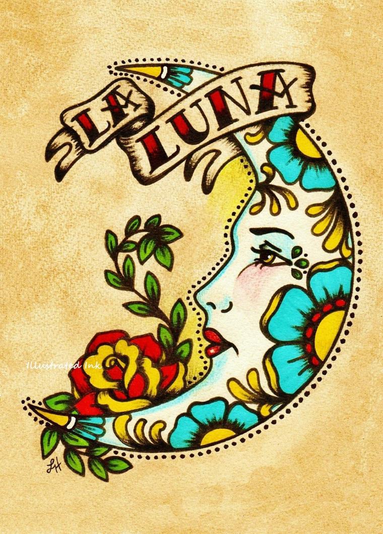 Tattoo old school braccio, disegno luna con fiori, disegno con fiori colorati