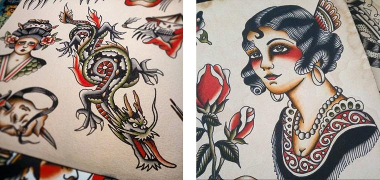 Tattoo old school uomo, disegno di una donna, disegni cinesi per tattoo