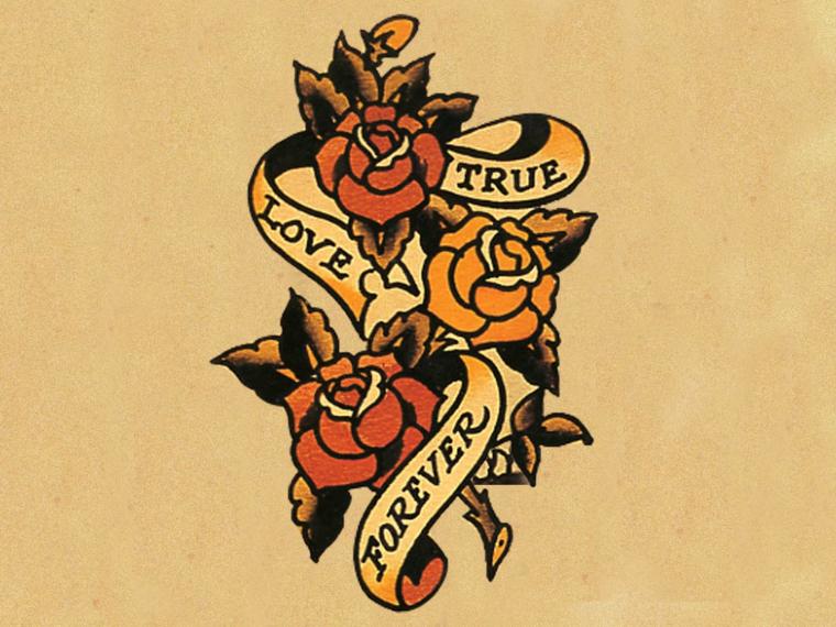 Nastro con scritta, disegni di fiori, tatuaggi tradizionali, disegno tattoo con rose