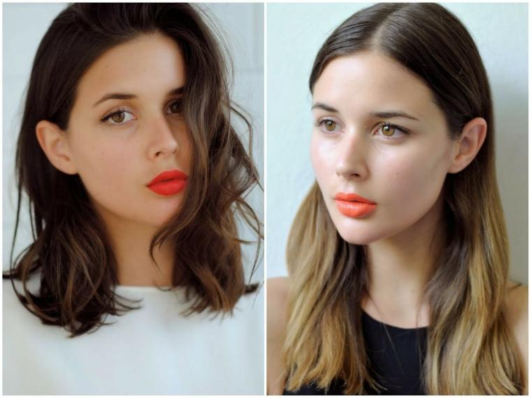 Collage di due fotografie, donna con rossetto rosso mat, capelli mossi castani, capelli mossi medi