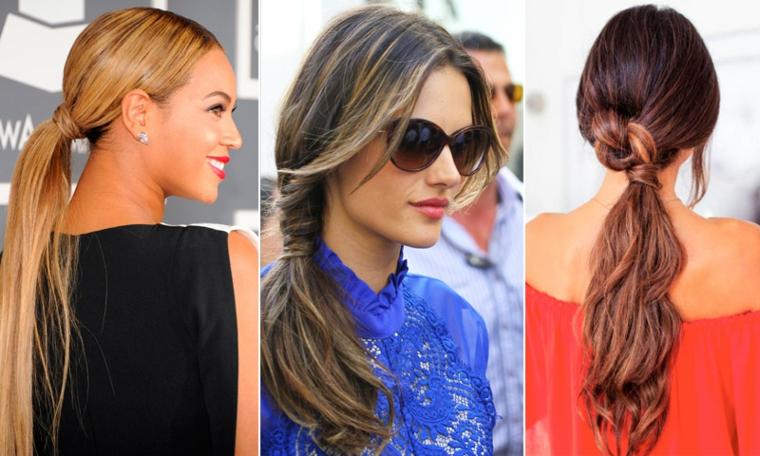 Pettinature capelli raccolti, tre donne famose, capelli lunghi e mossi