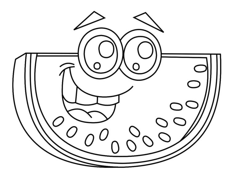 Disegno da colorare, disegno di una fetta di anguria, anguria con faccina