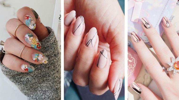 Unghie a mandorla, disegni nail art unghie, unghie bellissime, disegni di fiori