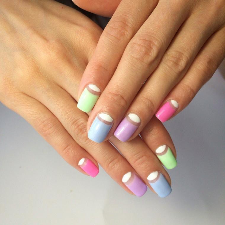 French manicure inversa, unghie gel semplici, forma unghia squadrata