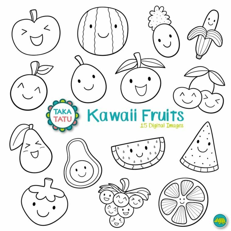 Disegno di frutta kawaii, disegni di frutta da colorare, schizzi con pennarello nero