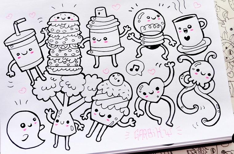 Disegni kawaii, disegni da colorare, schizzi di cibo, cuori con gambe e mani