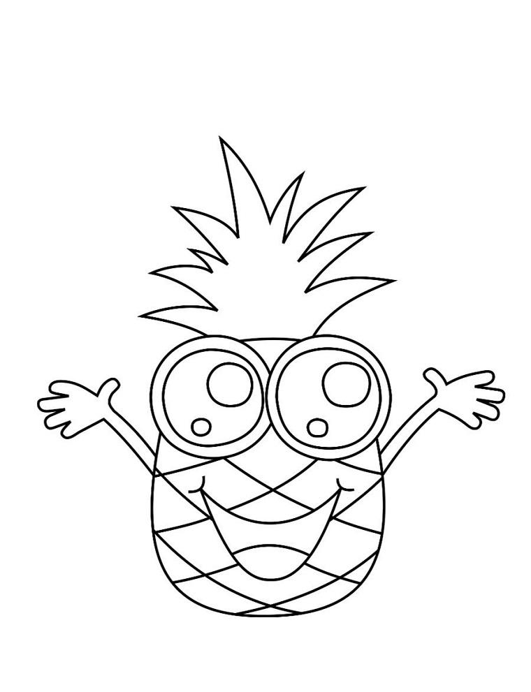 Disegni facili da fare, disegno di un ananas, schizzo da colorare, ananas con faccina