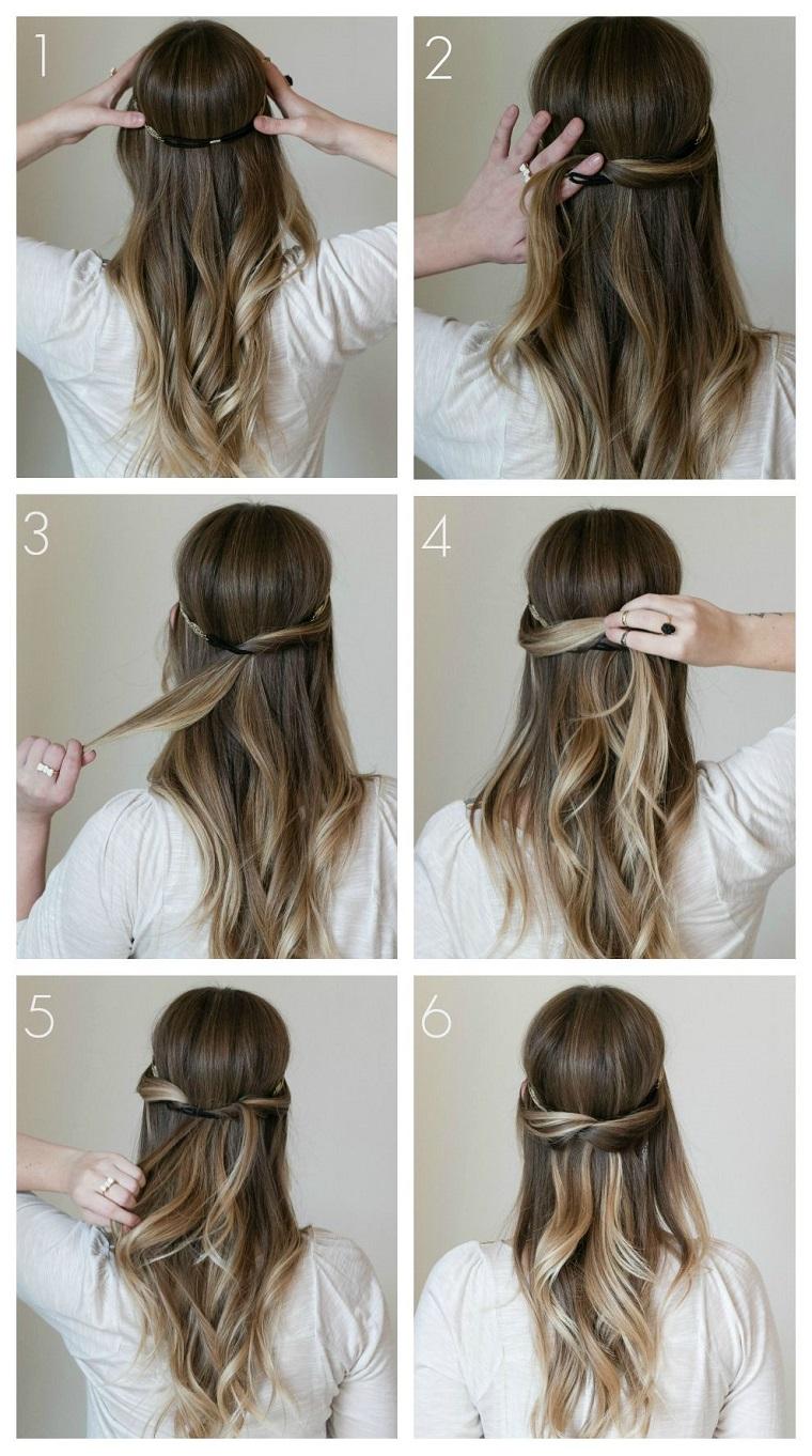 Acconciature semplici, pettinatura con elastico, capelli lunghi e mossi, colore capelli biondo balayage