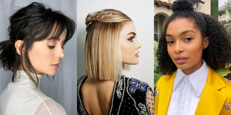 Tre foto di donne famose, Nina Dobrev capelli corti, tagli corti donna, acconciature raccolte