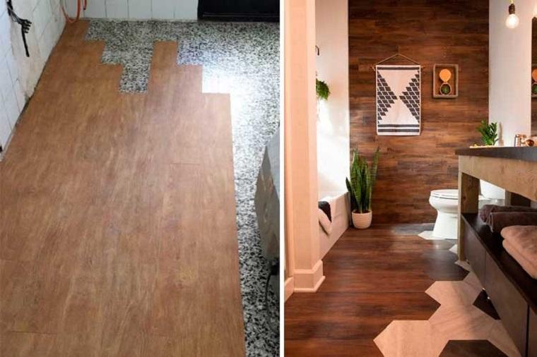 Rivestimento pavimento, vinile bicolore, parete con rivestimento in legno