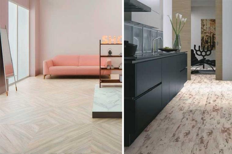 Soggiorno con pavimentazione in vinile, pavimento vinilico, divano colore rosa
