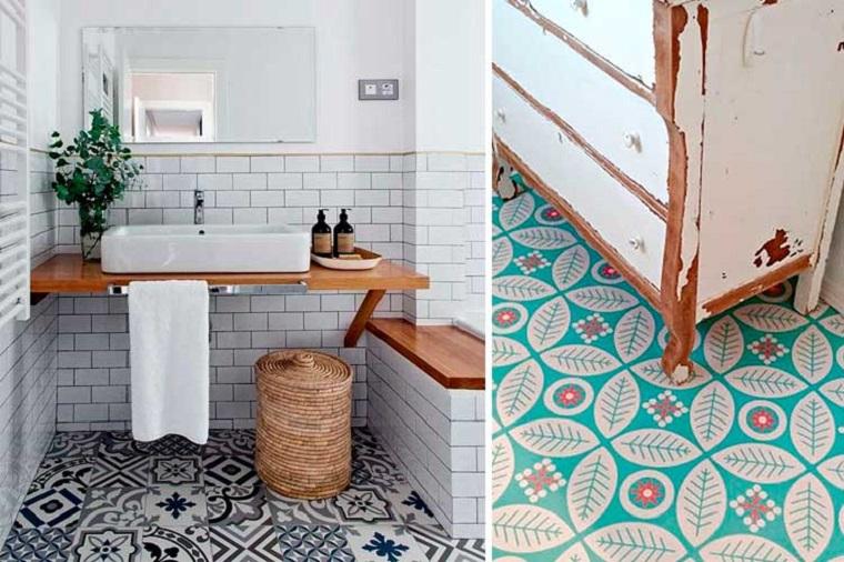 Print pavimento bagno, pavimento vinilico, mobile di legno vintage
