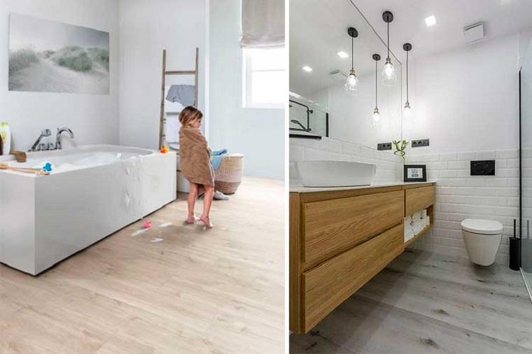 Rivestimento pavimenti, sala da bagno con vasca, vasca da bagno, vinile in bagno