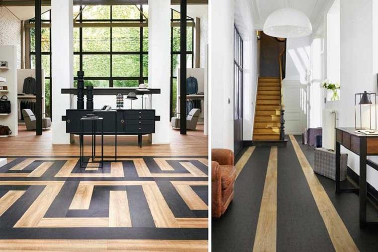 Rivestimento pavimenti, pavimento con formati diversi, pavimento bicolore