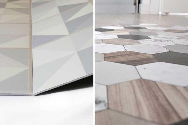 Pavimenti in PVC, print piastrelle colore grigio, forma piastrelle ad esagono
