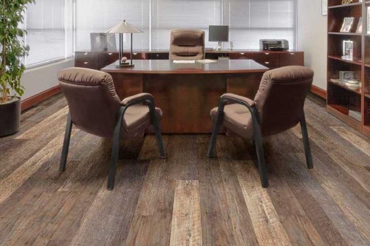Pavimenti in PVC, ufficio con sedie, pavimentazione in vinile colore marrone
