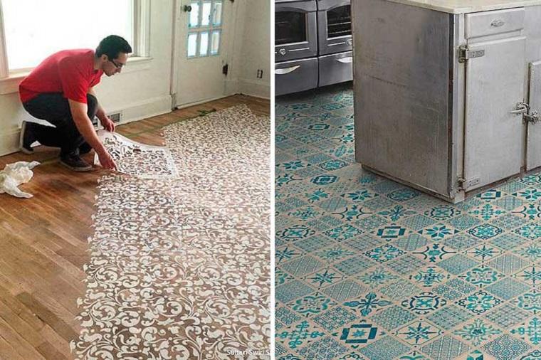 Stencil per pavimenti, pavimenti in pvc, colorazione pavimento cucina