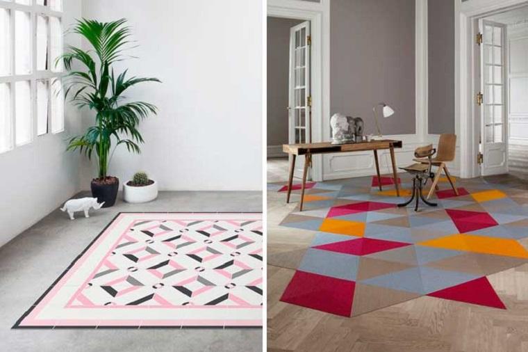 Tappeti adesivi per soggiorno, print tappeto geometrico, pianta con foglie verdi