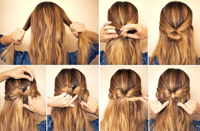 Come legare i capelli, due ciocche di capelli lunghe, pettinatura con fiocco