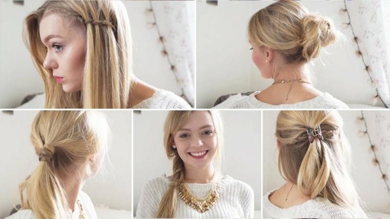 Idee per acconciature semplici, donna con capelli biondi, capelli lunghi e lisci