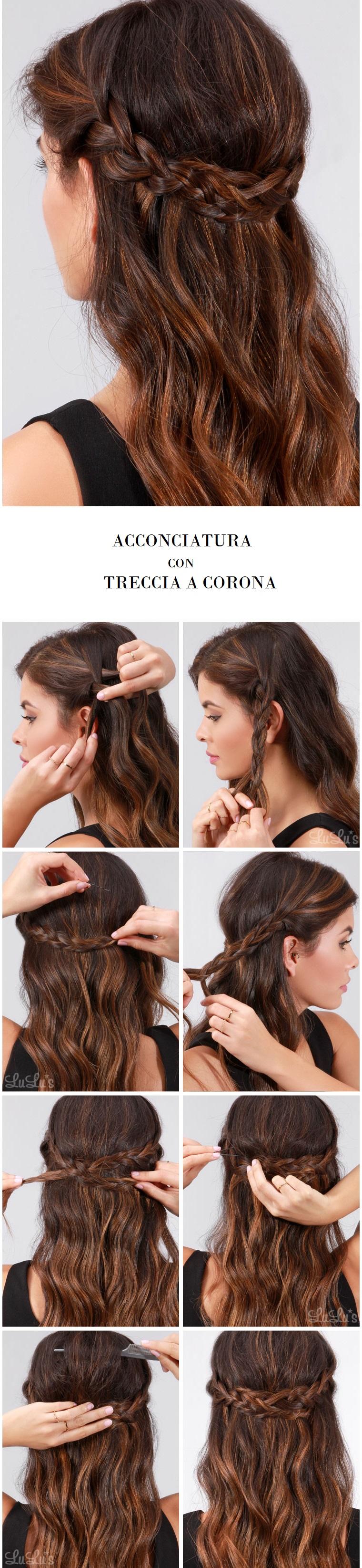 Come legare i capelli, donna con treccia a corona, capelli lunghi e castani