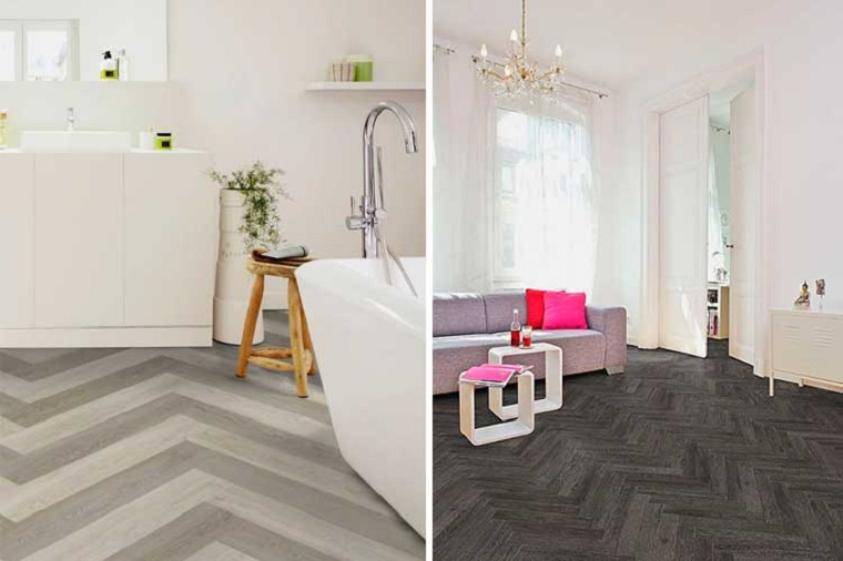 Pavimenti adesivo, soggiorno con divano grigio, sala da bagno con vasca