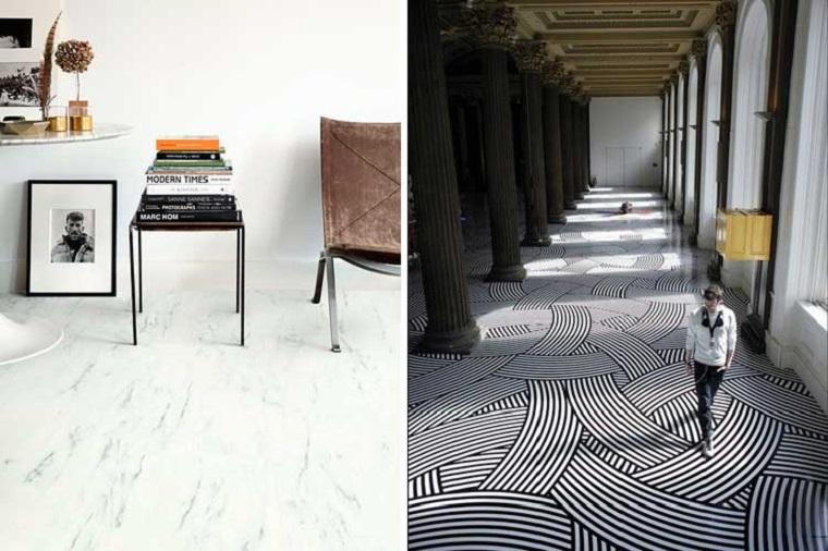 Pavimento adesivo, pavimento effetto marmo, soggiorno con tavolino e sedia