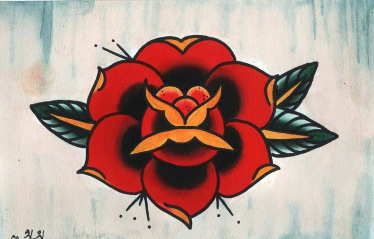Disegno rosa rossa, disegno di un fiore, tatuaggi e significati