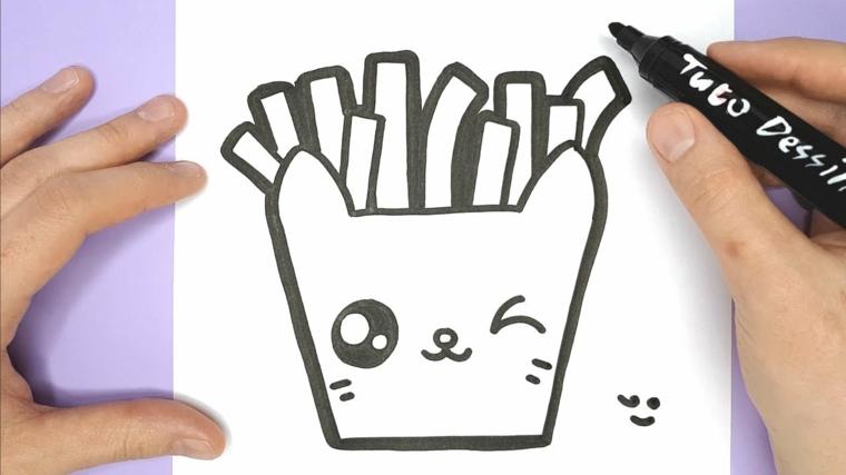 Disegno con pennarello nero, disegno da colorare, disegno di patatine fritte