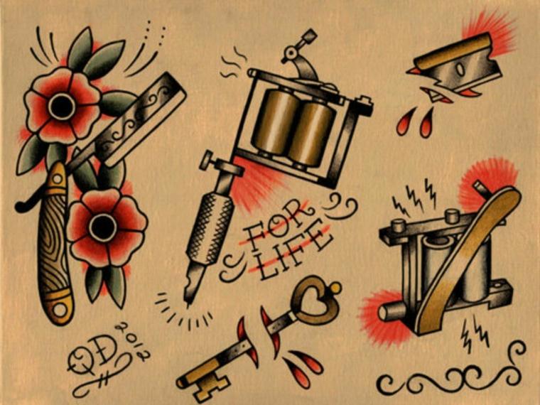 Disegno pistola per tatuaggi, disegno chiave spezzata, disegno fiori colorati