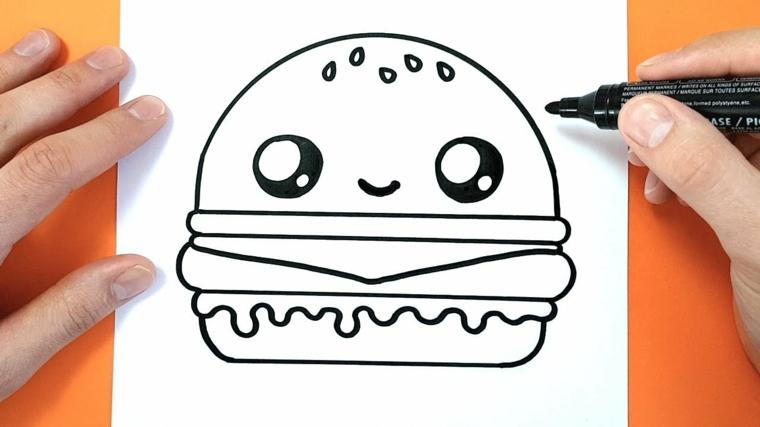 Disegno di un hamburger, disegno con pennarello nero, sfondo immagine arancione