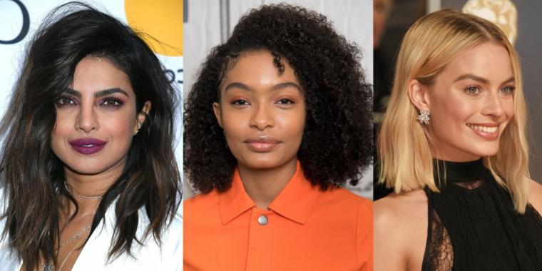 Capelli mossi medi, tre donne famose, capelli ricci neri, tagli scalati mossi