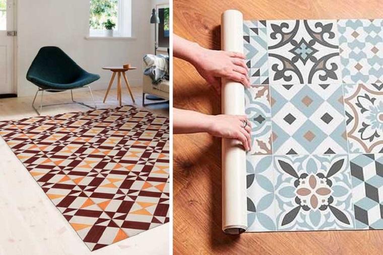 Pavimenti in PVC, tappeto adesivo per pavimenti, soggiorno con divano