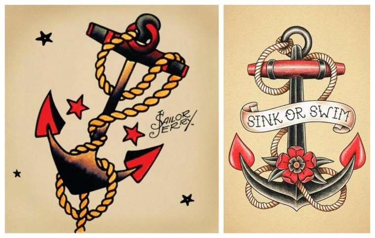 Disegno ancora colorata, scritte per tatuaggi, disegno tattoo vecchia scuola