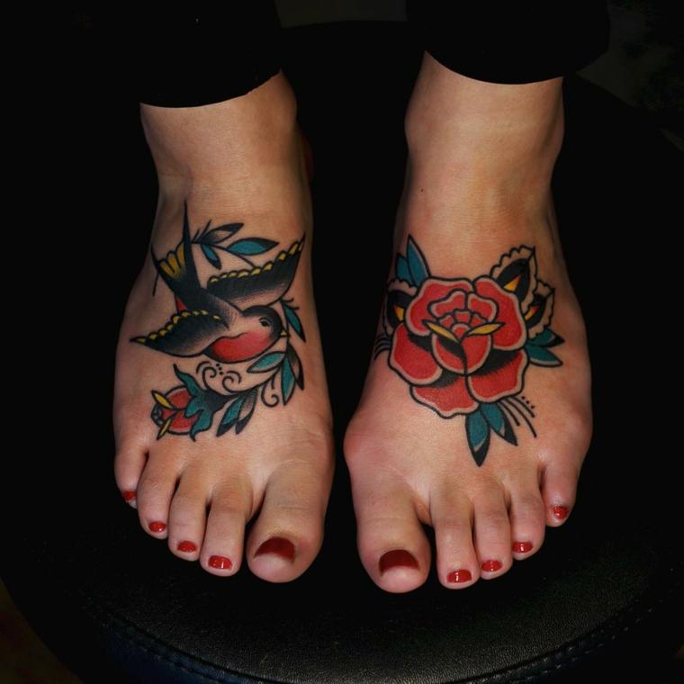 Tattoo vecchia scuola, disegno rosa rossa, disegno old school uccello, tatuaggi sui piedi