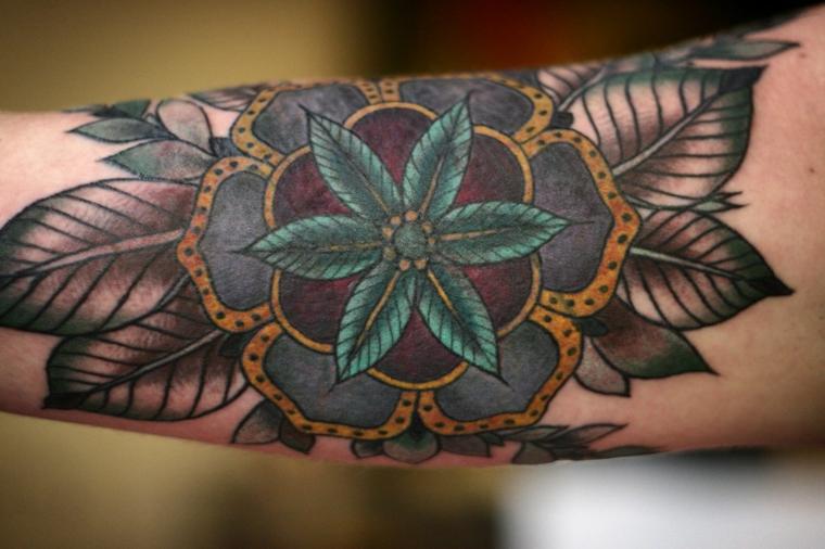 Tatuaggi e significati, disegno di un fiore, tatuaggio sull'avambraccio