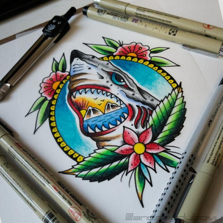 Disegno di uno squalo, disegno colorato per tattoo, pennarelli colorati per disegno grafico