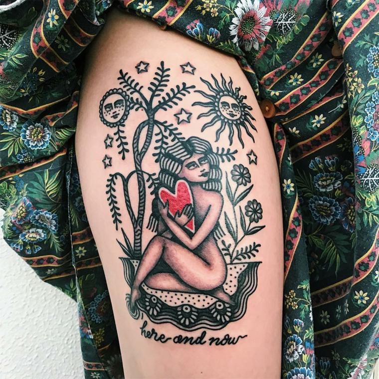 Scritte old school, disegno donna tattoo, tatuaggio vecchia scuola, tattoo sulla coscia