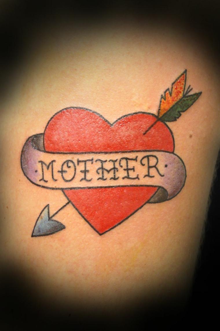 Cuore sacro tattoo, cuore con scritta, cuore con freccia, disegno per tattoo uomo