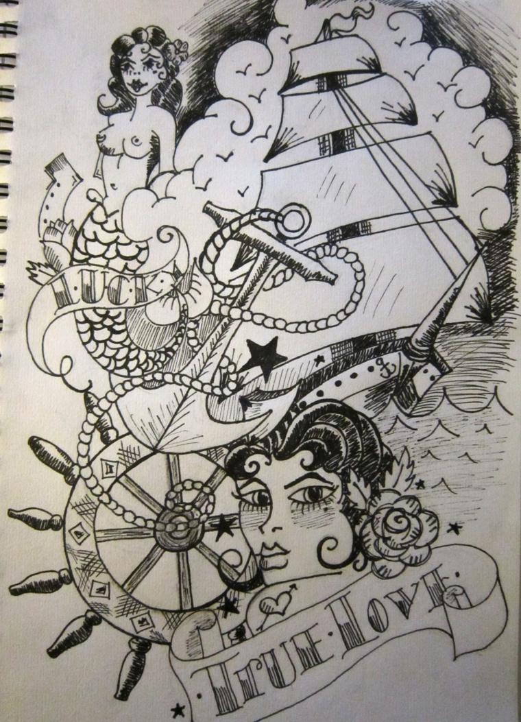 Tattoo veliero uomo, disegno a matita, disegno a matita per tatuaggi